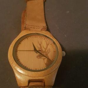 Wooden watch with deer detailing